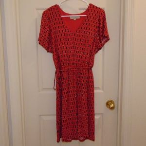 LOFT Red Print Short Sleeve Dress Medium